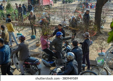 Namdinh, Vietnam - Feb 02, 2016: People shopping for peaches, kumquat, flowers .. prepared for the Lunar New Year in a small market