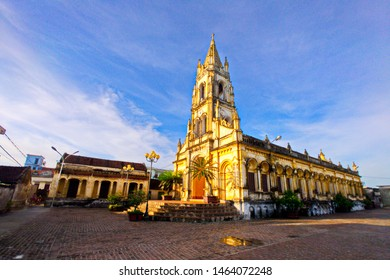NAMDINH, VIETNAM - JULY 28, 2019: Scenery of an old Catholic church inside Bao Dap village. This is a location very famous for handicraft and Catholic churrches.