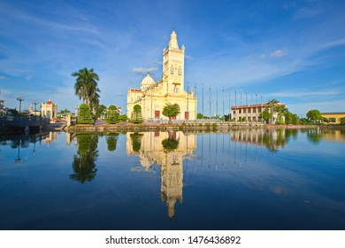 NAMDINH, VIETNAM - JULY 28, 2019: Scenery of a newly renovated Catholic church inside Bao Dap village. This is a location very famous for handicraft and Catholic churrches.