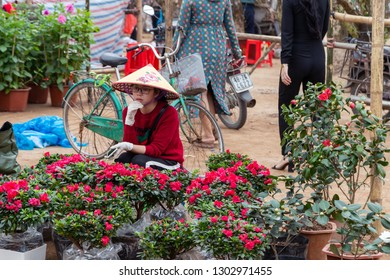 "NAMDINH, VIETNAM on 31st May 01st, 2019: beautiful girl sits on a flowerbed in the ""spring flower market"" on the occasion of Vietnam's Lunar New Year."