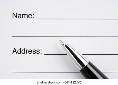 Name and address in an order form