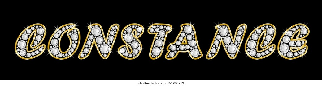 The name CONSTANCE made of a shiny diamonds style font, brilliant gem stone letters building the word, isolated on black background.