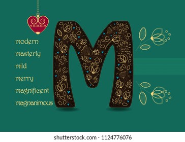 Name Day Card for custom name. Artistic letter M with golden floral decor. Vintage red heart with chain. Words begining with the letter M - magnanimous, magnificent, mild, masterly, merry, modern