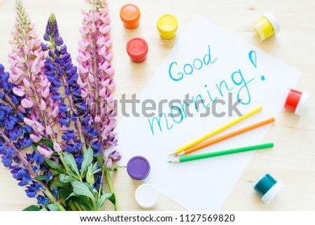 Name Good Morning Written On Paper Stock Photo Edit Now 1127569820