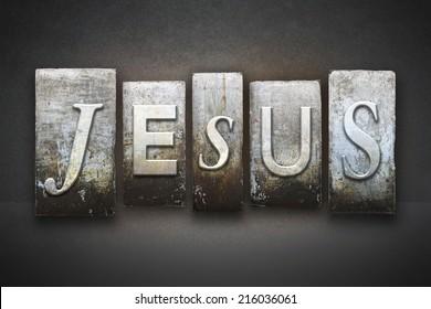 The name JESUS written in vintage letterpress type
