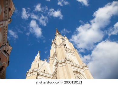 The Name of Mary Church, also known as Novi Sad catholic cathedral or crkva imena marijinog during a sunny summer afternoon. This cathedral is one of the most important landmarks of Novi Sad, Serbia   - Shutterstock ID 2000110121