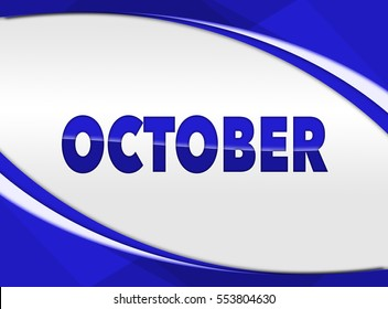 Name of Month October on the white grey background with circular blue frame