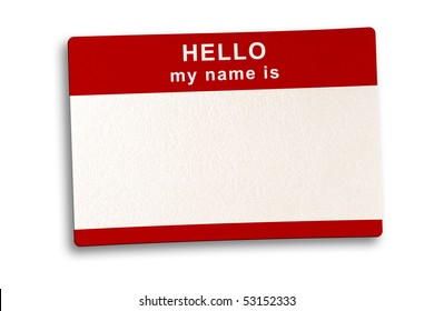 Name tag isolated  on white background with soft shadow, clipping path included