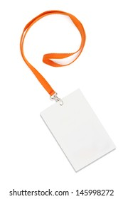 Name Tag With Lanyard on White