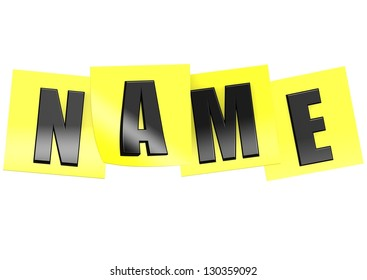 Name in yellow note