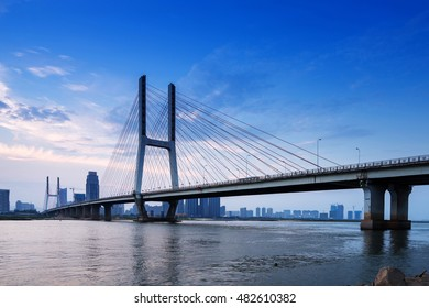 named bayi bridge in the night of shanghai china