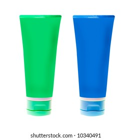 nameless plastic bottles for beauty product on white background (put on your own label)