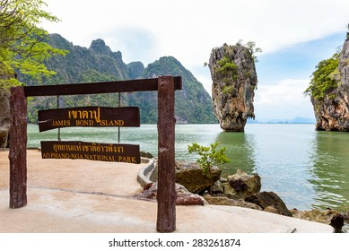 Nameplate attractions viewpoint at beach seaside of Khao Tapu or James Bond Island in Ao Phang Nga Bay National Park, Thailand