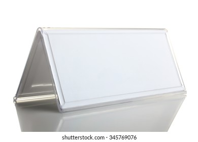 the nameplate on a white isolated background