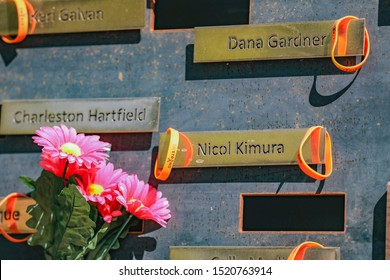 "Names of few that have been killed in the 1 October shooting in Las Vegas 2 years ago. All name placards strengthened by orange ""58 Strong"" wristbands. — Las Vegas Memorial Healing Center 10/1/2019"