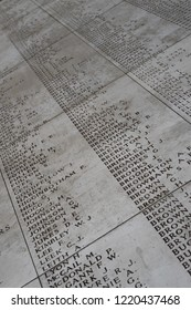 Names on WW1 Menenpoort Memerial in Ypres West Flanders Belgium