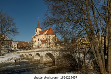 Namest nad Oslavou with the baroque bridge over river Oslava and Church of Saint John the Baptist - Shutterstock ID 1926215459