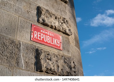 Namesti Republiy (translation from Czech: Republic square). Street sign on the historical wall of building