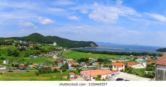 Namhae, South Korea - July 29, 2018 : Namhae German Village scene, tourist attraction in Namhae county, Gyeongsangnam-do