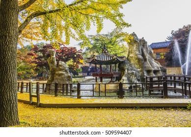 Nami Island, Korea - October 30: Tourists take photos in a beautiful autumn scenery around the island. Photo 30.2016 October in Seoul, South Korea.