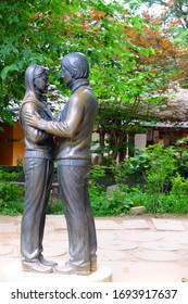 NAMI ISLAND,KOREA - JUN 26: The statue Baeyongjoon and Choi Ji Woo in Nami Island on June 26,2012 in seoul,South Korea.