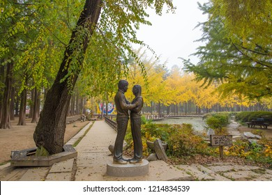 NAMI ISLAND,KOREA - OCT 21: The statue and Tourists taking photos of the beautiful scenery around Nami Island on October 21,2018 in seoul,South Korea.