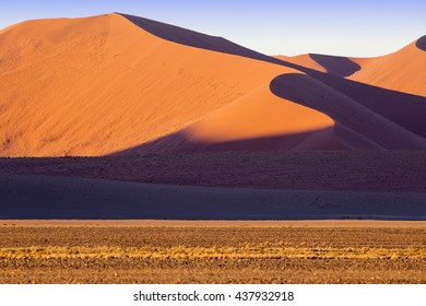 Namib. Annual growth of the area of sand. Global warming on the planet. Red dunes.