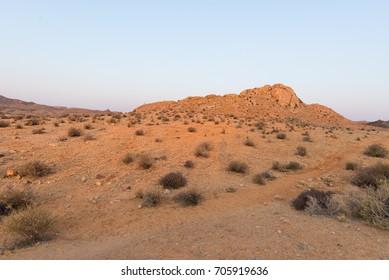 The Namib desert at sunset, Aus, Namibia, Africa. Panoramic view.