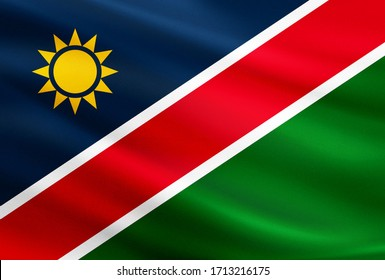 Namibia flag with fabric texture