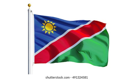Namibia flag waving on white background, close up, isolated with clipping path mask alpha channel transparency