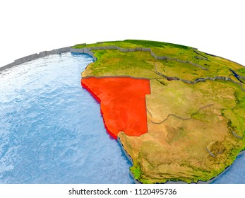 Namibia highlighted in red on globe with realistic land surface, visible country borders and water in place of oceans. 3D illustration. Elements of this image furnished by NASA.