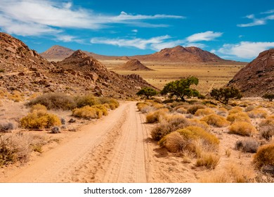 Namibia landscape with unprepared road leading to nowhere.