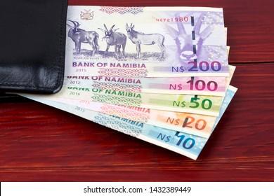Namibian Dollar in the black wallet