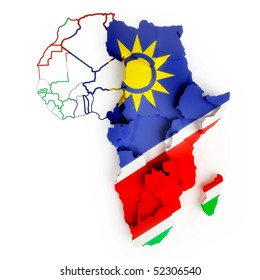 Namibian flag on map of Africa with national borders