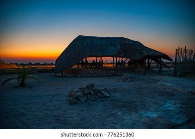 Namibian lodge at sunset
