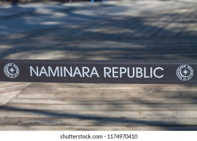 Namiseom, Gangwon Province , South Korea - April 21 2016:  The Micronation Naminara Republic Sign on Nami Island