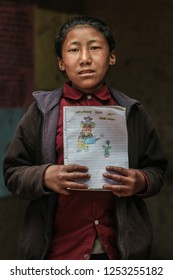 Namkeli, Nepal - April 2017: Documentary about the School of Namkeli with the association Namaste Nepal - Community aiming to contribute to humanitarian aid following the earthquake in Nepal in 2015