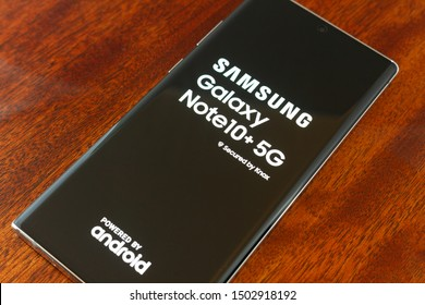 NAMPA, IDAHO - AUGUST 23, 2019: Booting up the new Samsung Galaxy Note10 5g for the first time