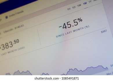 NAMPA, IDAHO - MARCH 26, 2018: in one month the price of the cryptocurrency ethereum has dropped 45.5 percent