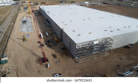 NAMPA, IDAHO - MARCH 8, 2019: Construction work being done at the new amazon warehouse coming to Idaho