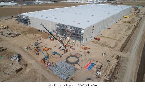 NAMPA, IDAHO - MARCH 8, 2019: Very large Amazon warehouse being constructed in Nampa, Idaho