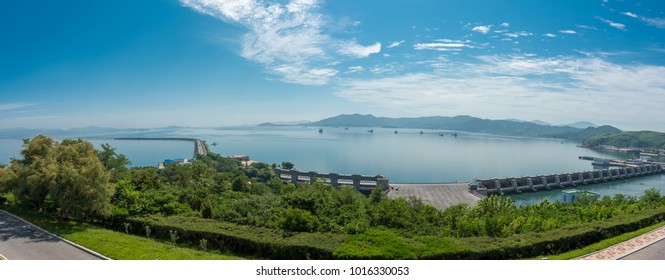 Nampo,North Korea-August17,2016:Landscape of Nampo Dam  West Sea Barrage from the top view .