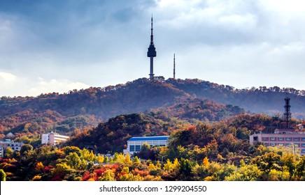 namsan mountain in autumn at seoul city south Korea