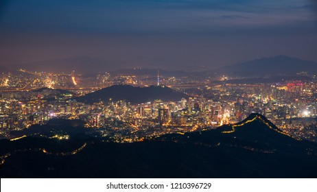 Namsan mountain located at the center of Seoul and Seoul Tower in Seoul at Night,South Korea.
