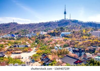 namsan mountain in spring at seoul city south Korea