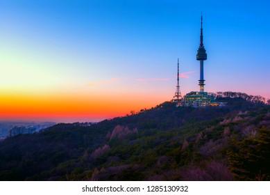 namsan mountain in twilight time at  seoul south Korea