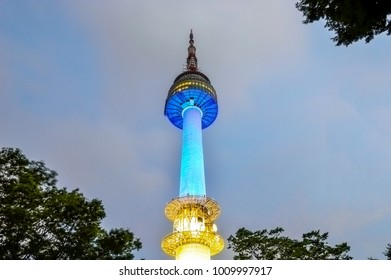 Namsan N Seoul Tower at night, stands 480 meters above sea level, Seoul, South Korea