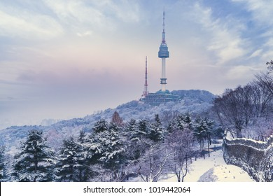 Namsan park or Namsan mountain in seoul city south korea on winter snow day view.