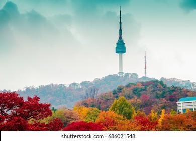 Namsan Seoul Tower and autumn maple tree mountain in Korea