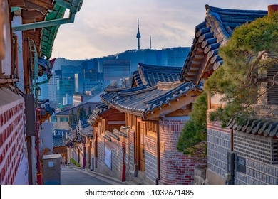 Namsan Seoul Tower from Bukchon Hanok Village in Seoul South Korea.